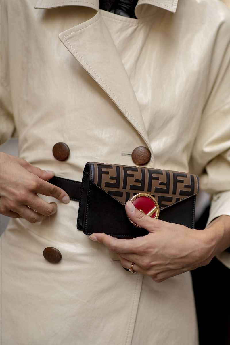 Fendi Kan I Leather Clutch