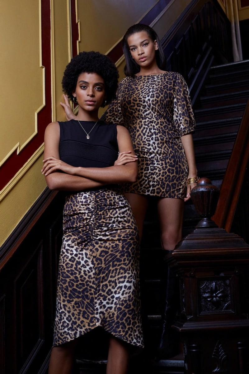 FiveSeventyFive Ruched Leopard-Print Midi-Skirt