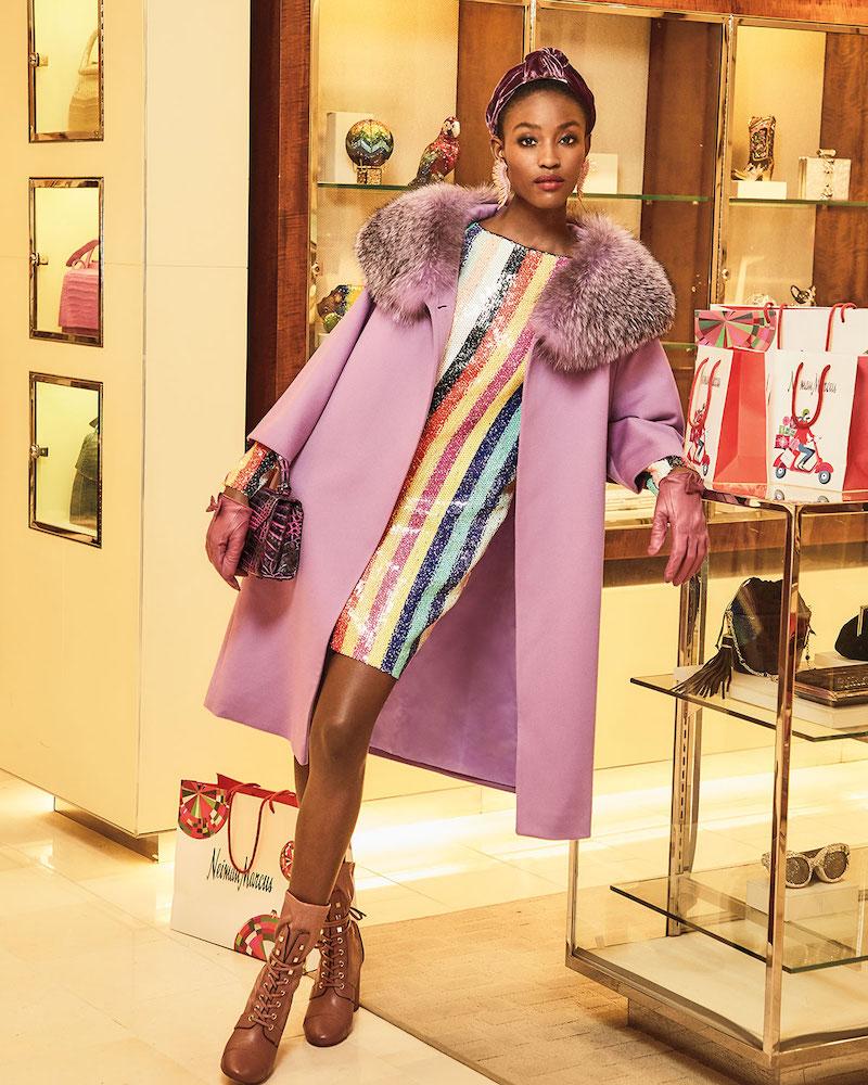 Fleurette Wool Cocoon Coat with Oversized Fur Collar