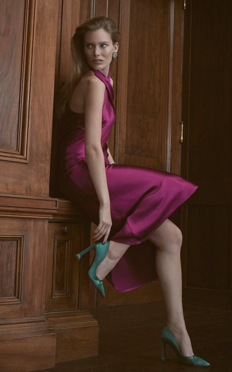 Galvan M'O Exclusive Silk Pandora Midi Dress