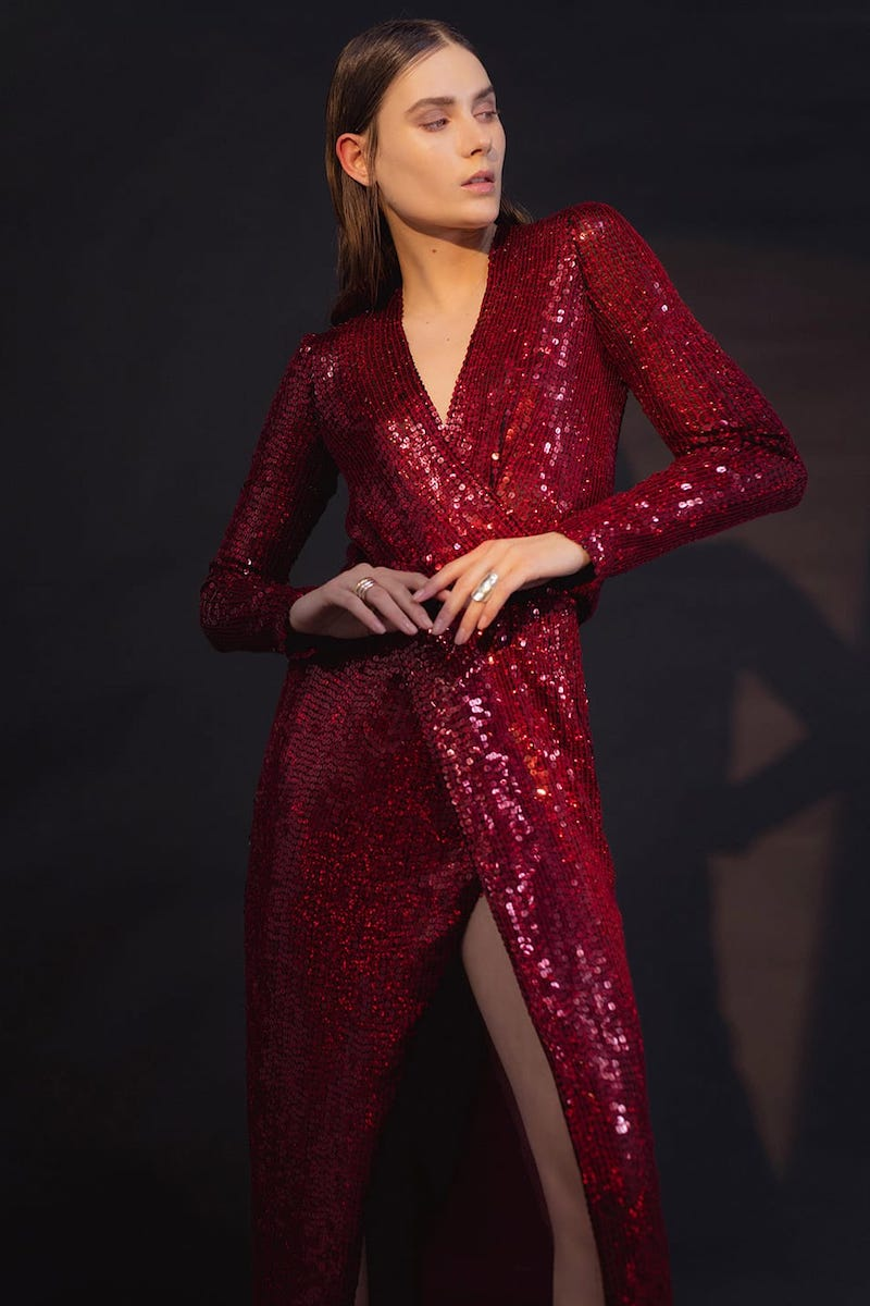 Galvan Vera Sequinned Silk Gown