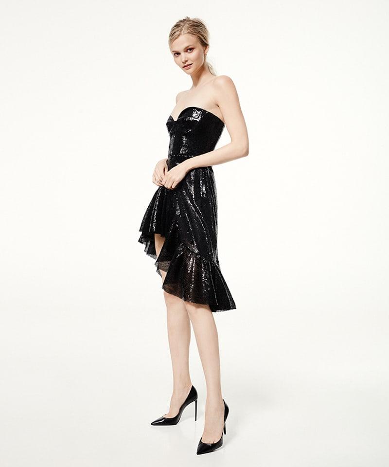 Giuseppe Di Morabito Strapless Sequined Asymmetrical Dress in Black