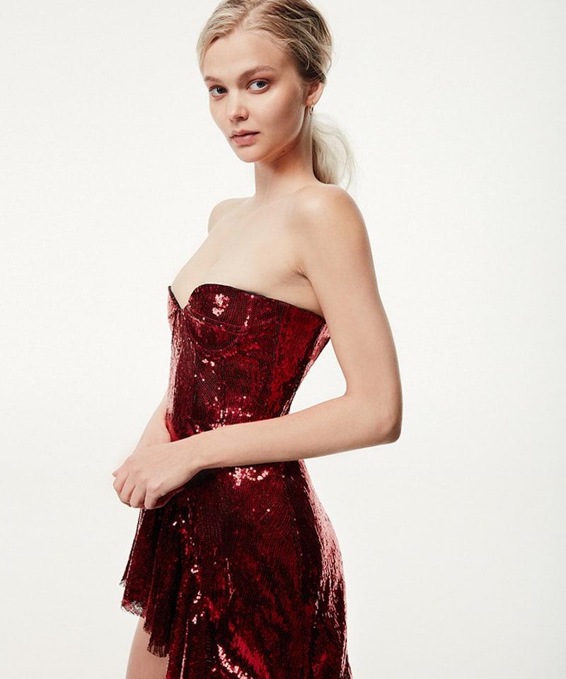 Giuseppe Di Morabito Strapless Sequined Asymmetrical Dress