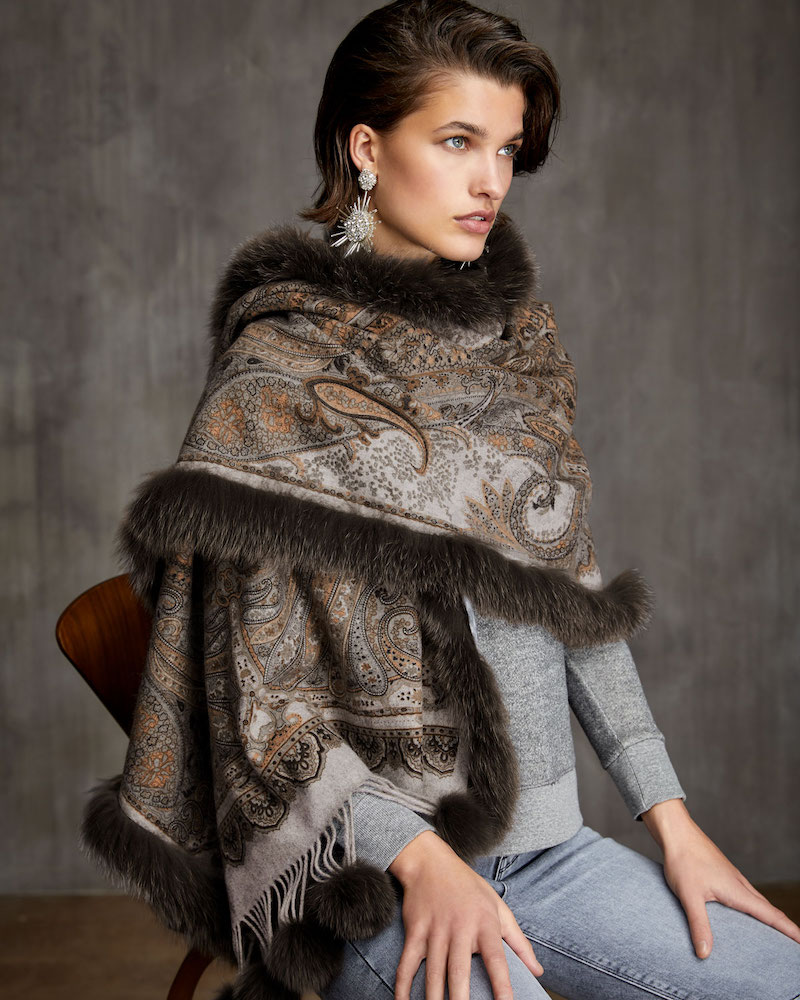 Gorski Double-Face Cashmere Stole with Fur Trim