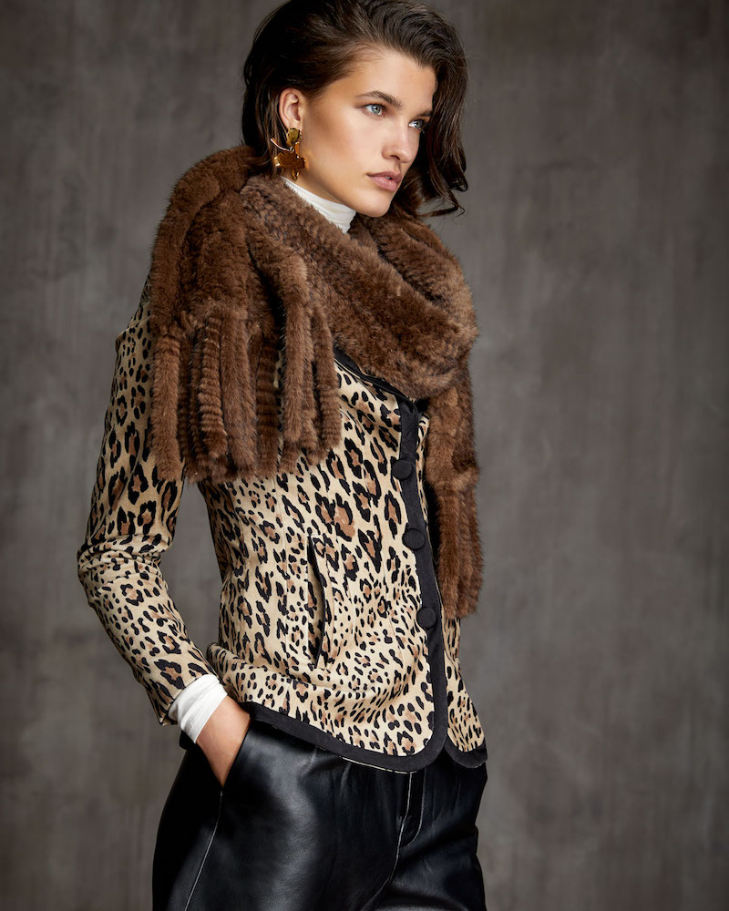 Gorski S-Cut Mink Fur Stole with Fringe Trim