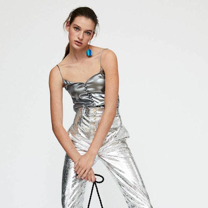 Hillier Bartley Metallic Silk Cami Top