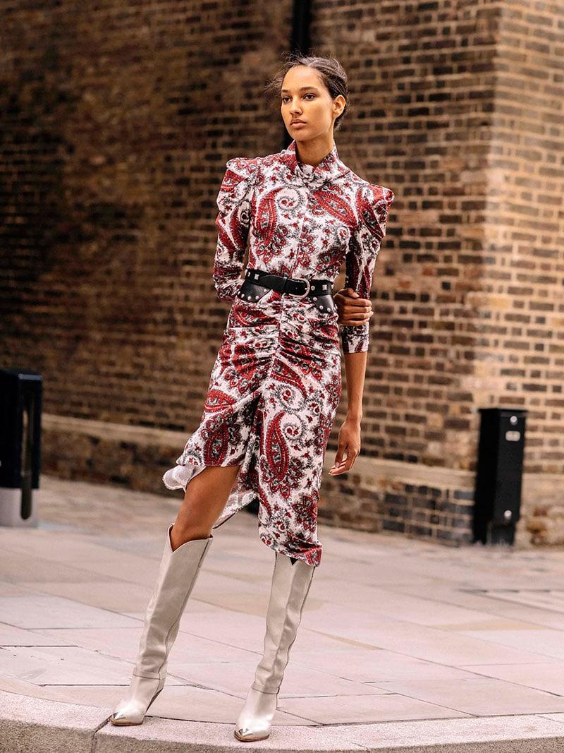 Isabel Marant Tizy Draped Printed Crepe De Chine Midi Dress