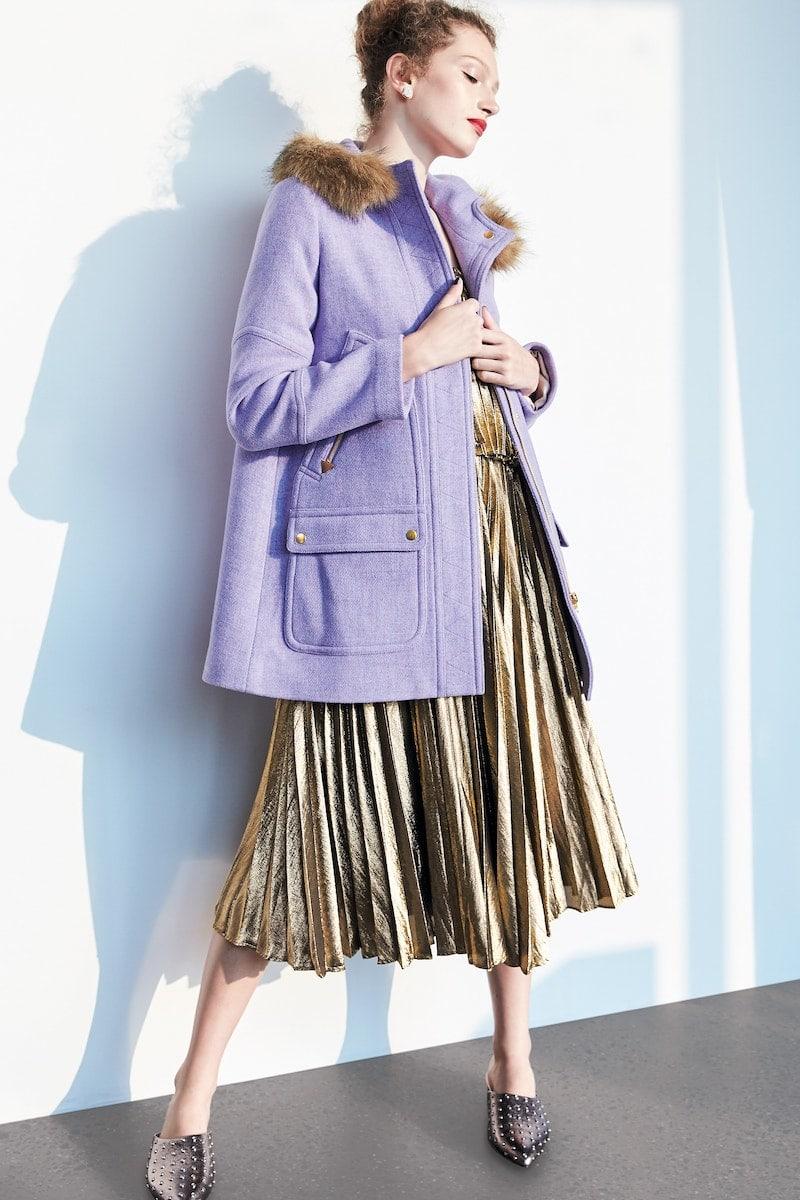J.Crew Collection Gold Lamé Pleated Midi Dress