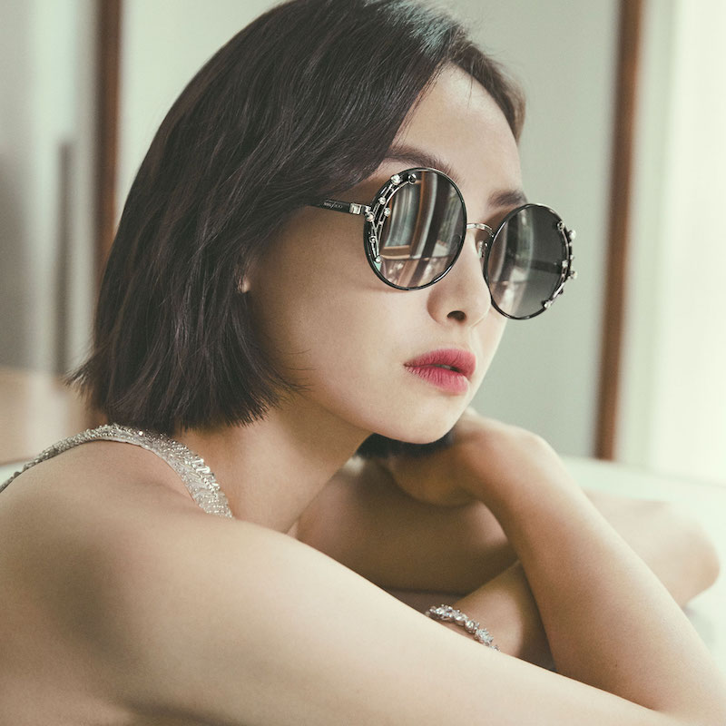 JIMMY CHOO Gema Round Shaped Metal Sunglasses With Swarovski Crystals and Pearls