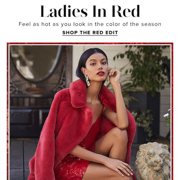 Ladies in Red REVOLVE Holiday 2018 The Red Edit