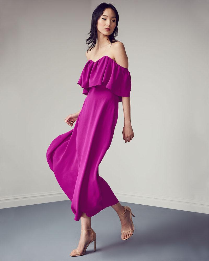 Lela Rose Off-the-Shoulder Ruffle A-Line Silk Dress