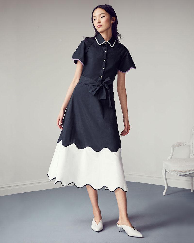 Lela Rose Wave-Print Short-Sleeve Collared Cotton Midi Shirtdress
