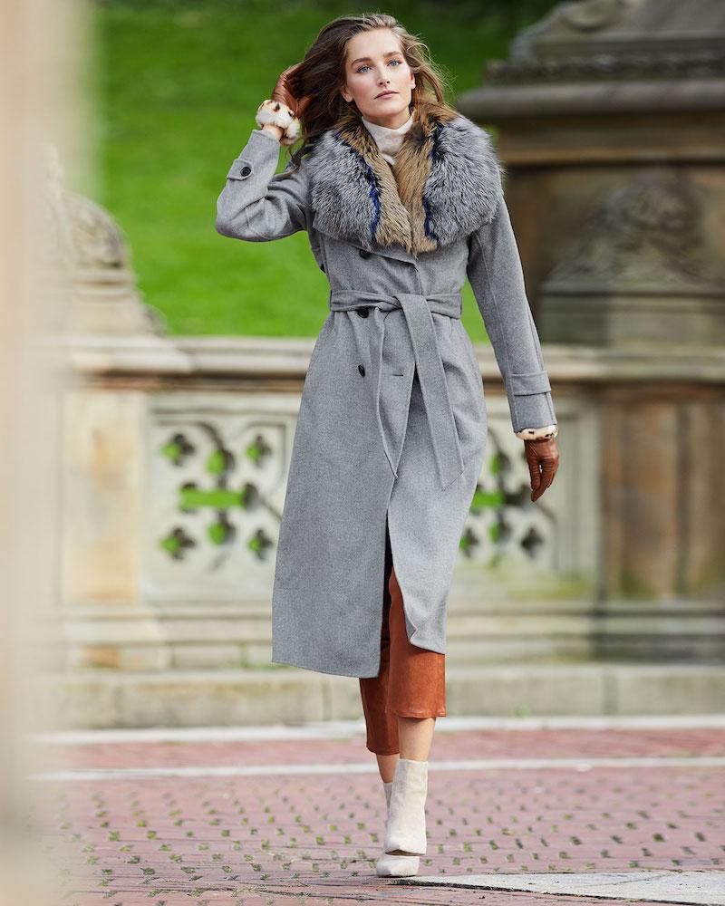 Mackage Blair Wool Coat with Tri-Color Fur Collar