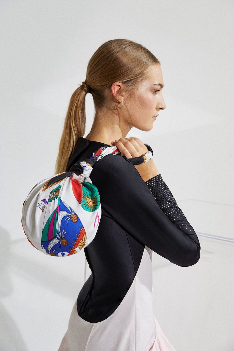 Marine Serre Dream Silk-Scarf Handle Ball Bag