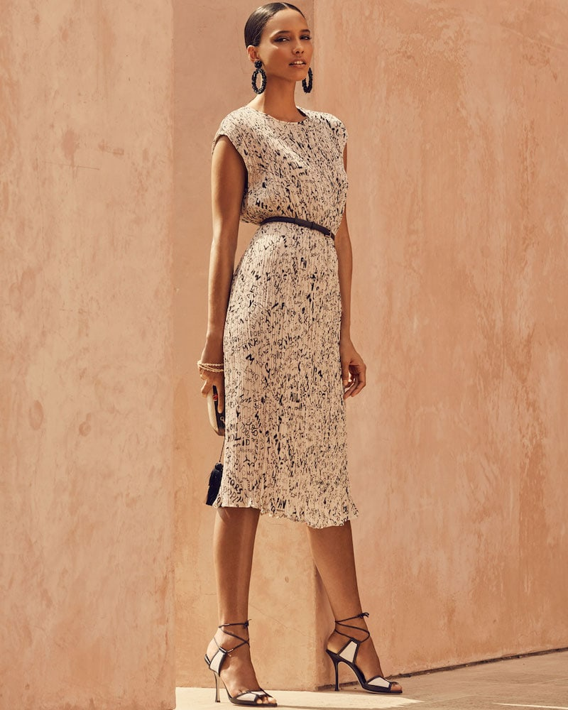 Maxmara Rina Cap-Sleeve Graffiti-Print Plisse Belted Midi Dress