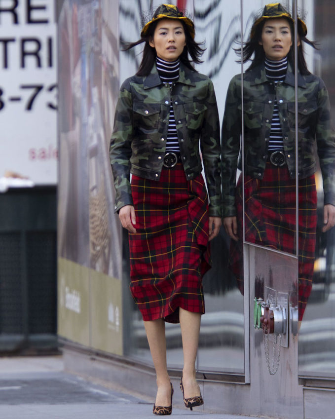 Michael Kors Collection Camo-Print Leather Bomber Jacket