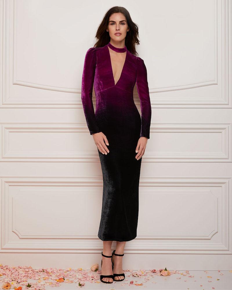 Monique Lhuillier Deep-V Long-Sleeve Ombre Velvet Cocktail Dress