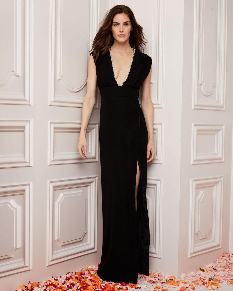 Monique Lhuillier Deep-V Sleeveless High-Slit Crepe Column Evening Gown