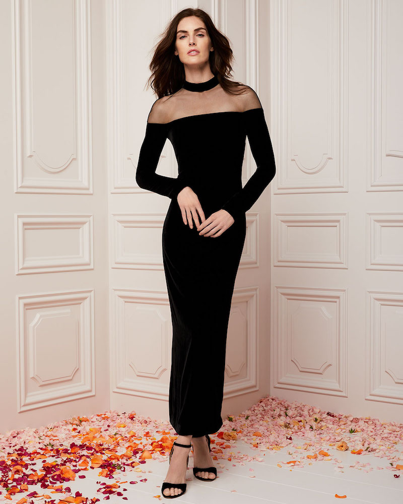 Monique Lhuillier Illusion Mock-Neck Long-Sleeve Velvet Column Evening Gown