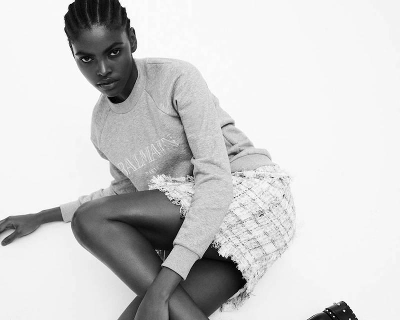 Mytheresa x Balmain Metallic Checked Tweed Miniskirt