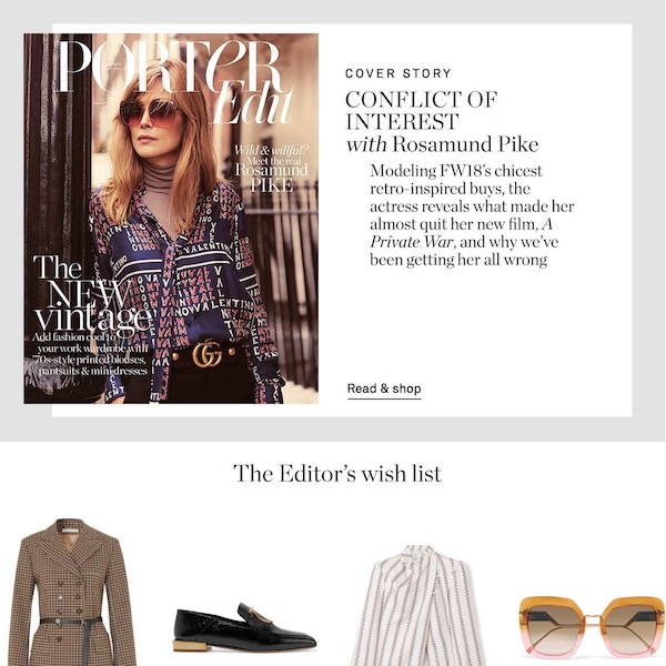 NET-A-PORTER PORTER Edit // Top Stories of The Week November 10, 2018