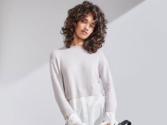 Neiman Marcus Cashmere Collection Cashmere Georgette-Trim Crewneck Sweater