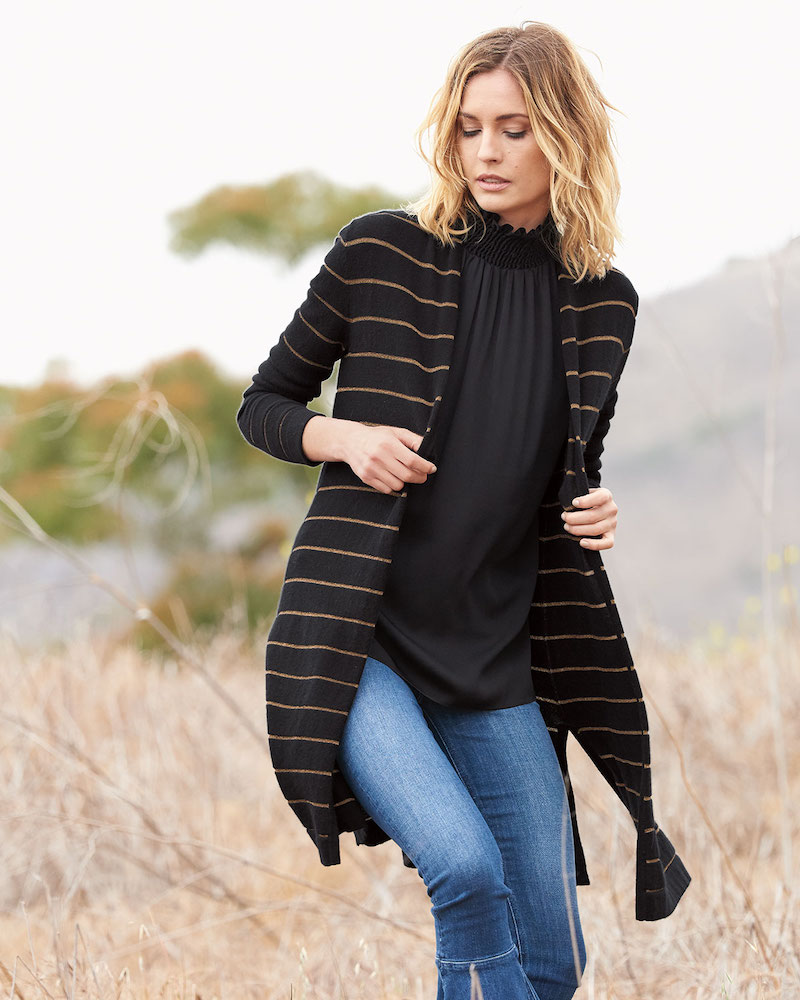 Neiman Marcus Cashmere Collection Cashmere Metallic-Striped Duster Sweater