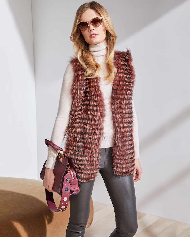 Neiman Marcus Cashmere Collection Luxury Cashmere Vest with Fox Fur Collar