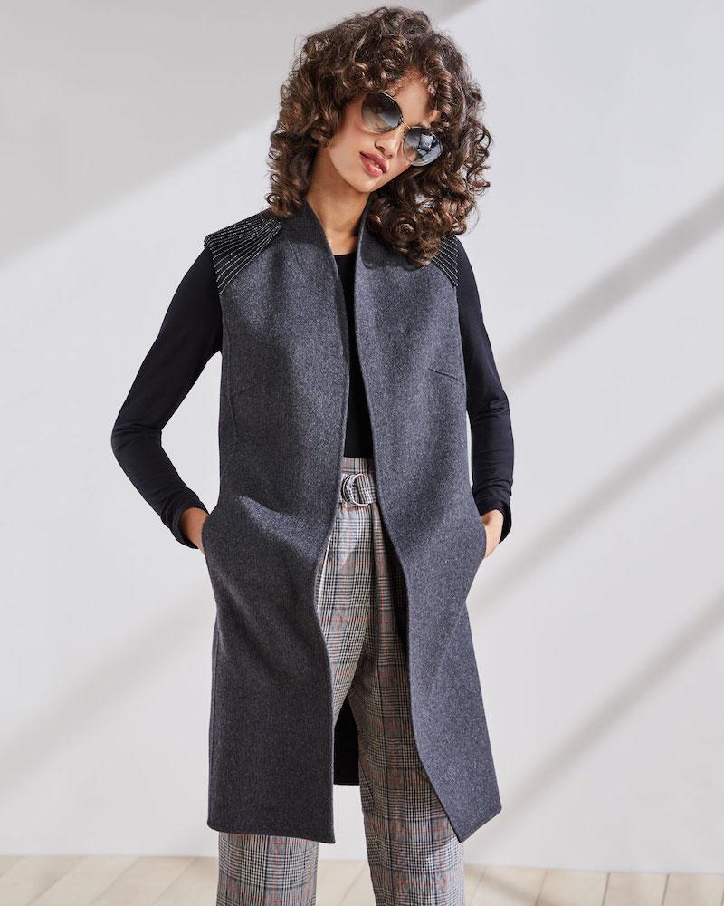 Neiman Marcus Cashmere Collection Luxury Double-Face Chain-Shoulder Cashmere Vest