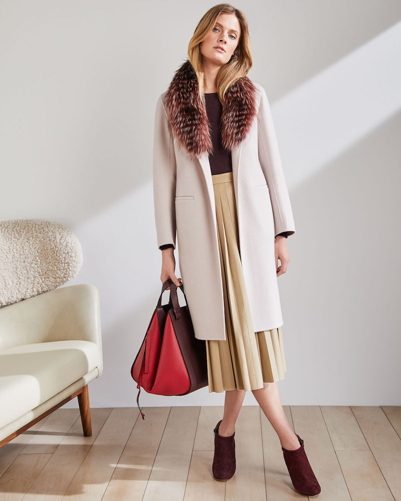 Neiman Marcus Cashmere Collection Luxury Open-Front Cashmere Coat with Fox Fur Collar