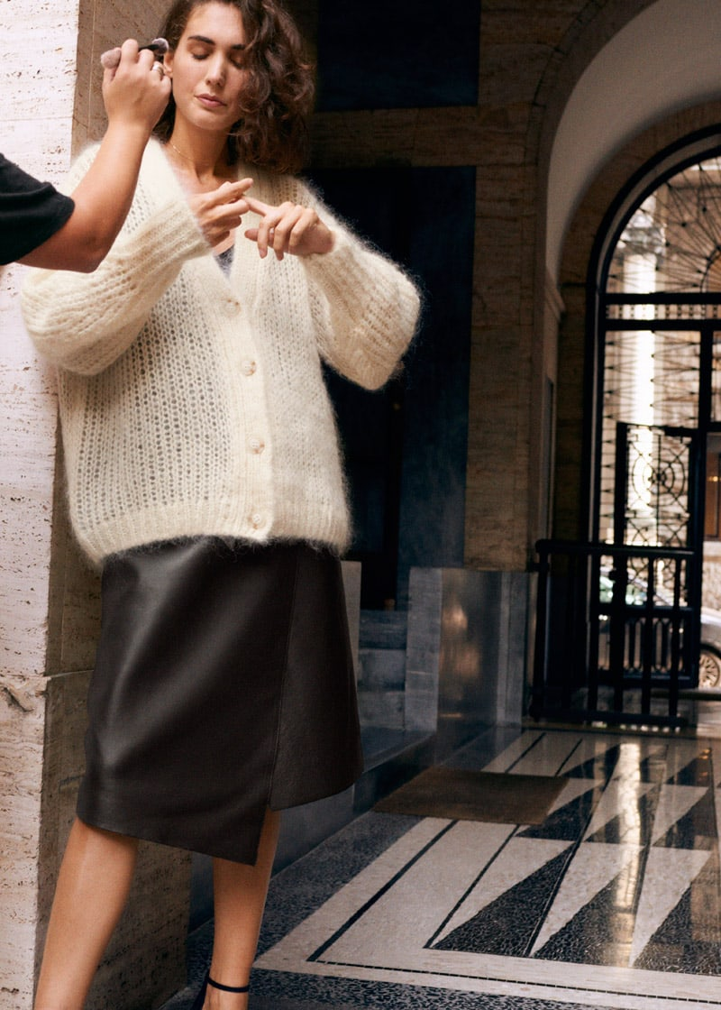 & Other Stories Asymmetric Belted Leather Skirt