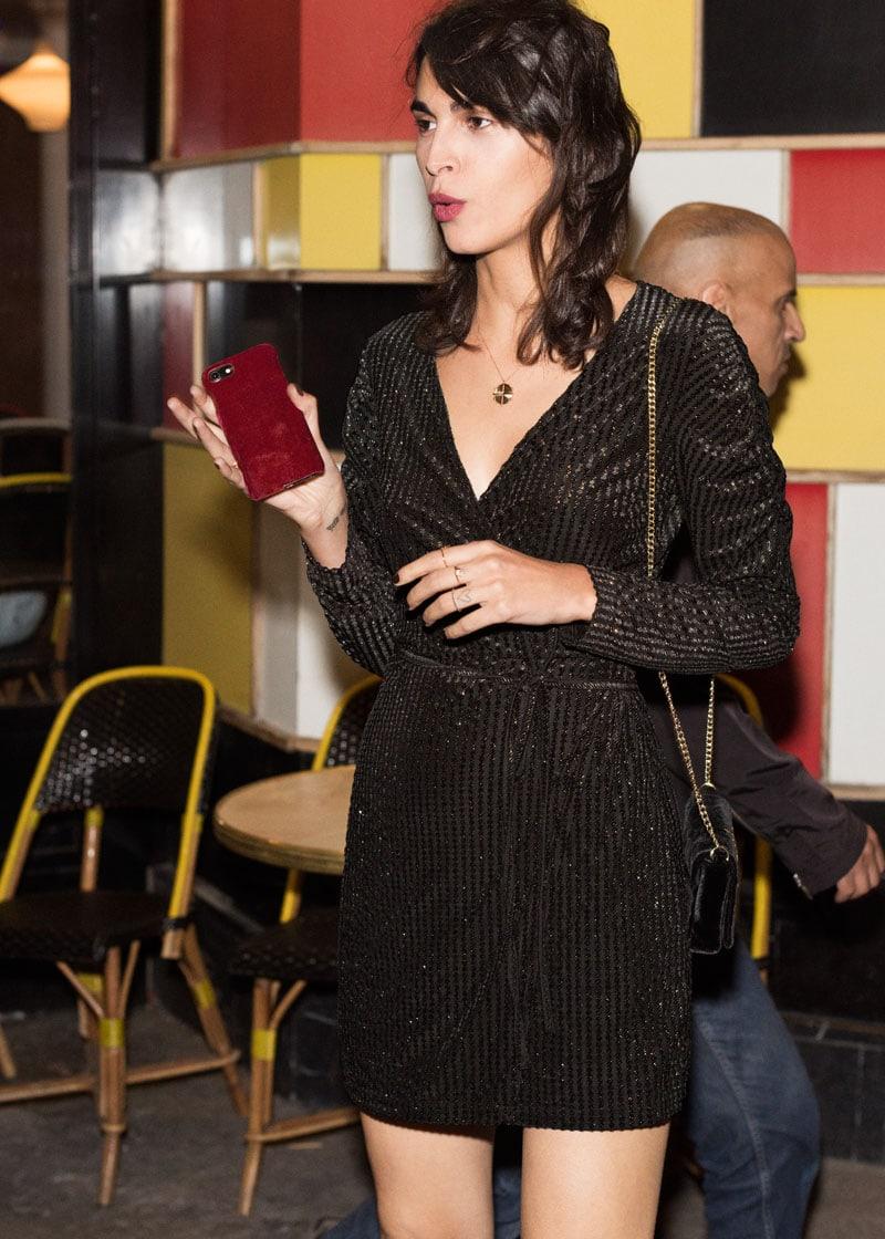 & Other Stories Glitter Stripe Velvet Wrap Dress