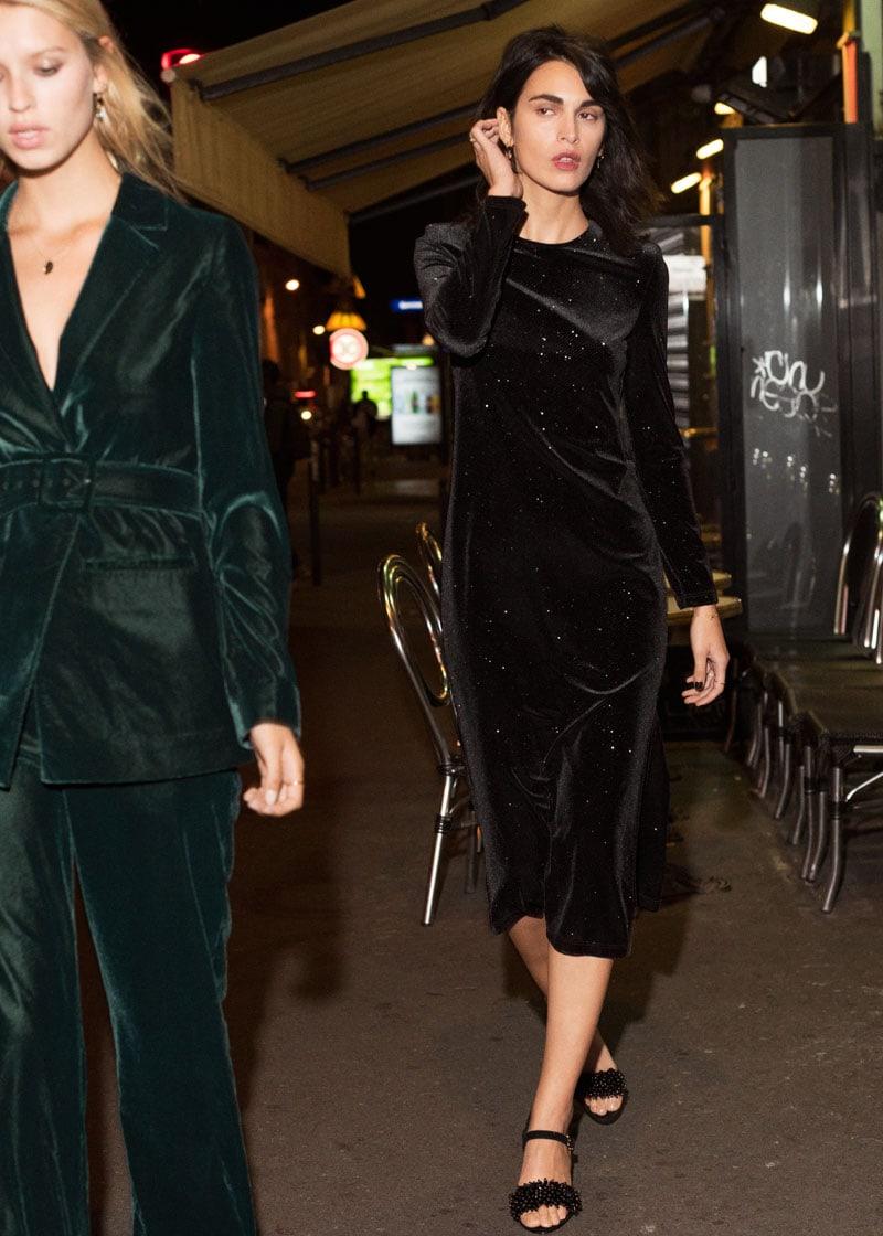 & Other Stories Long Sleeve Velvet Midi Dress