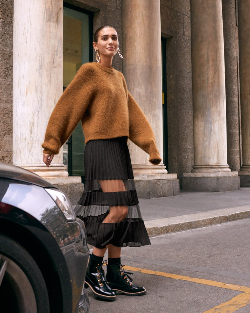 & Other Stories Pleated Mesh Stripe Midi Skirt