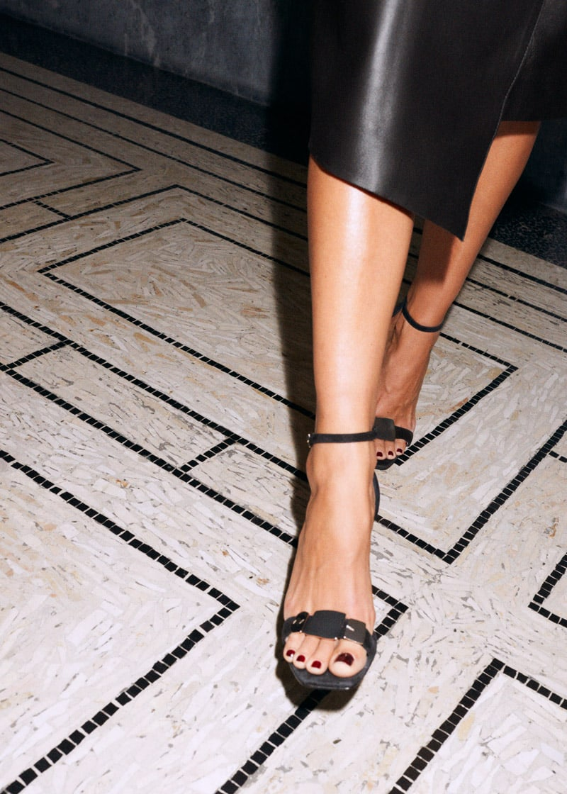 & Other Stories Suede Square Toe Heeled Sandals
