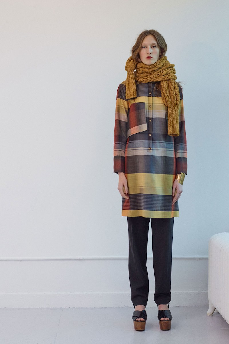 Partow Plaid Wool & Silk Dress