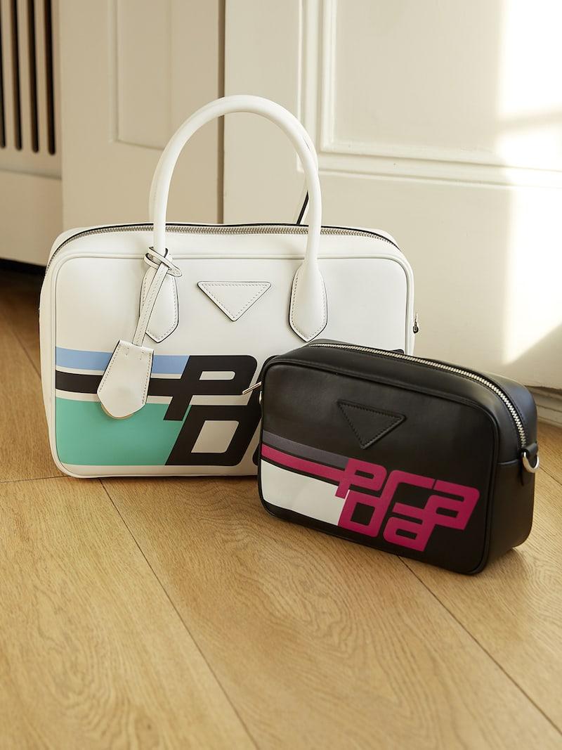 Prada Printed Leather Camera Bag