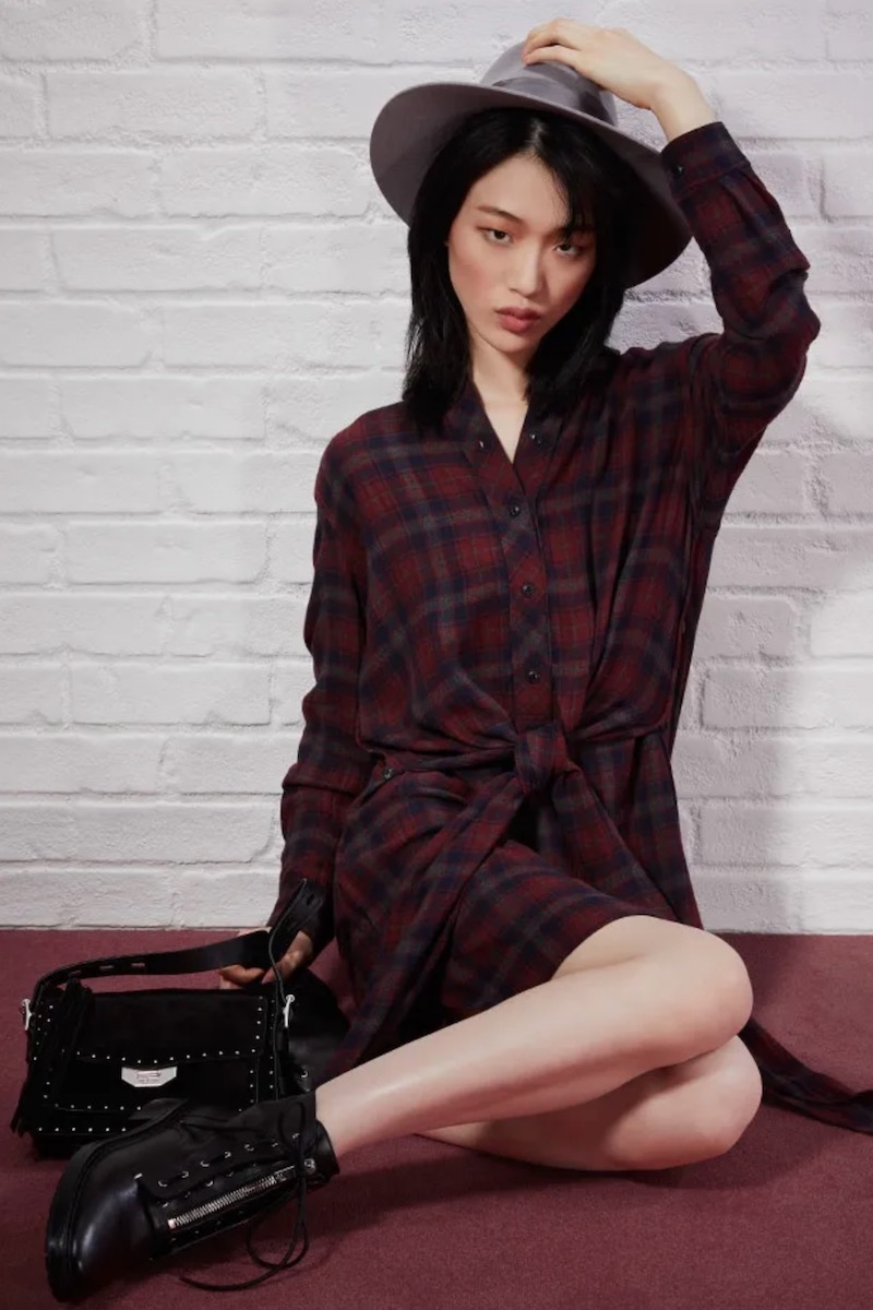 Rag & Bone Felicity Plaid Wrap-Front Long-Sleeve Shirtdress