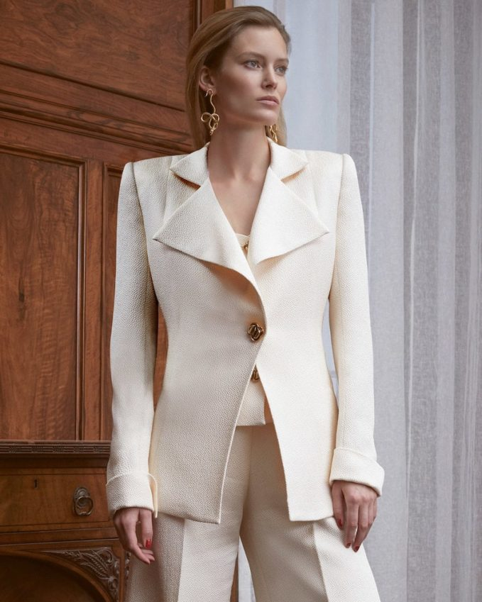 Rebecca de Ravenel M O Exclusive Silk Cloqué Blazer