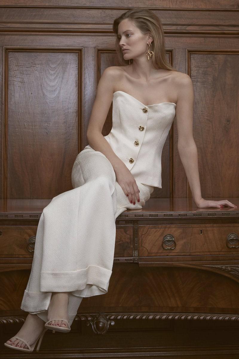 Rebecca de Ravenel M'O Exclusive Silk-Cloqué Bustier