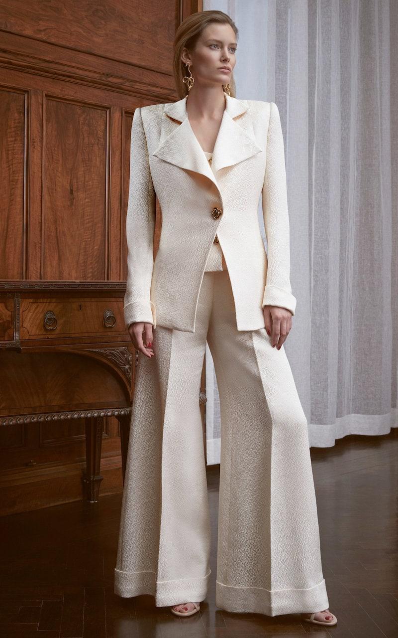 Rebecca de Ravenel M O Exclusive Silk Cloqué Wide-Leg Pant