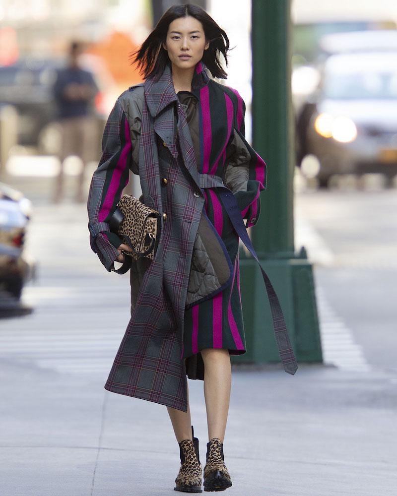SACAI Double-Breasted Glen-Check Wool Nylon Striped Long Coat