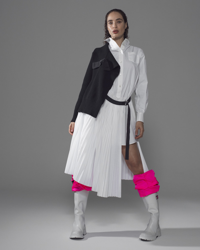 Sacai Black & White Knit Shirting Combo Dress