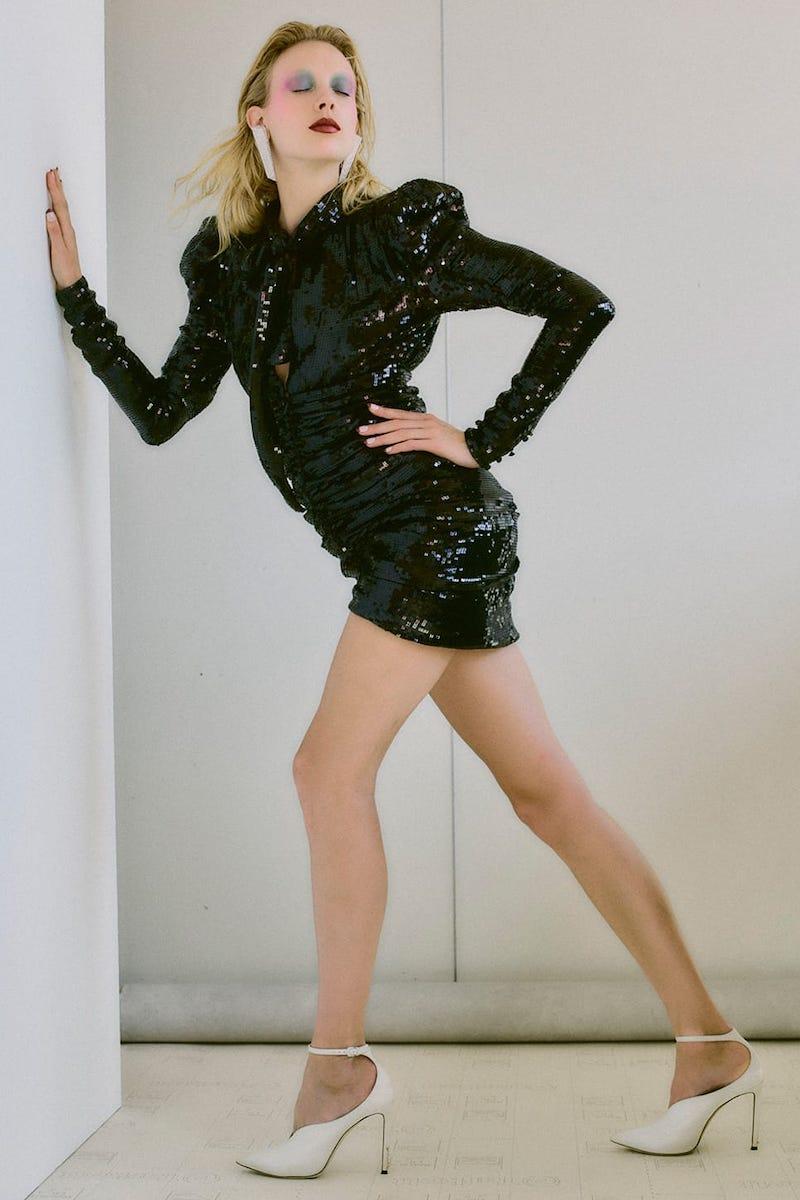 Saint Laurent Puff-Sleeve Sequinned Mini Dress
