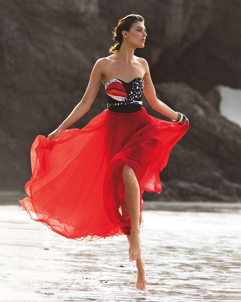 Schiaparelli Strapless Red Lip Bodice & Pleated Dress
