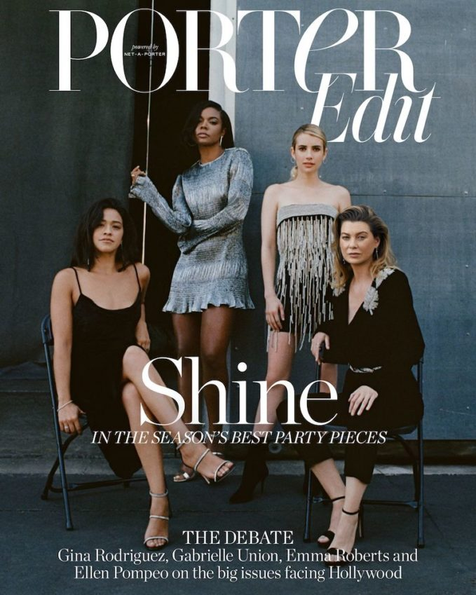 Screen Queens: Ellen Pompeo, Emma Roberts, Gina Rodriguez & Gabrielle Union for The EDIT