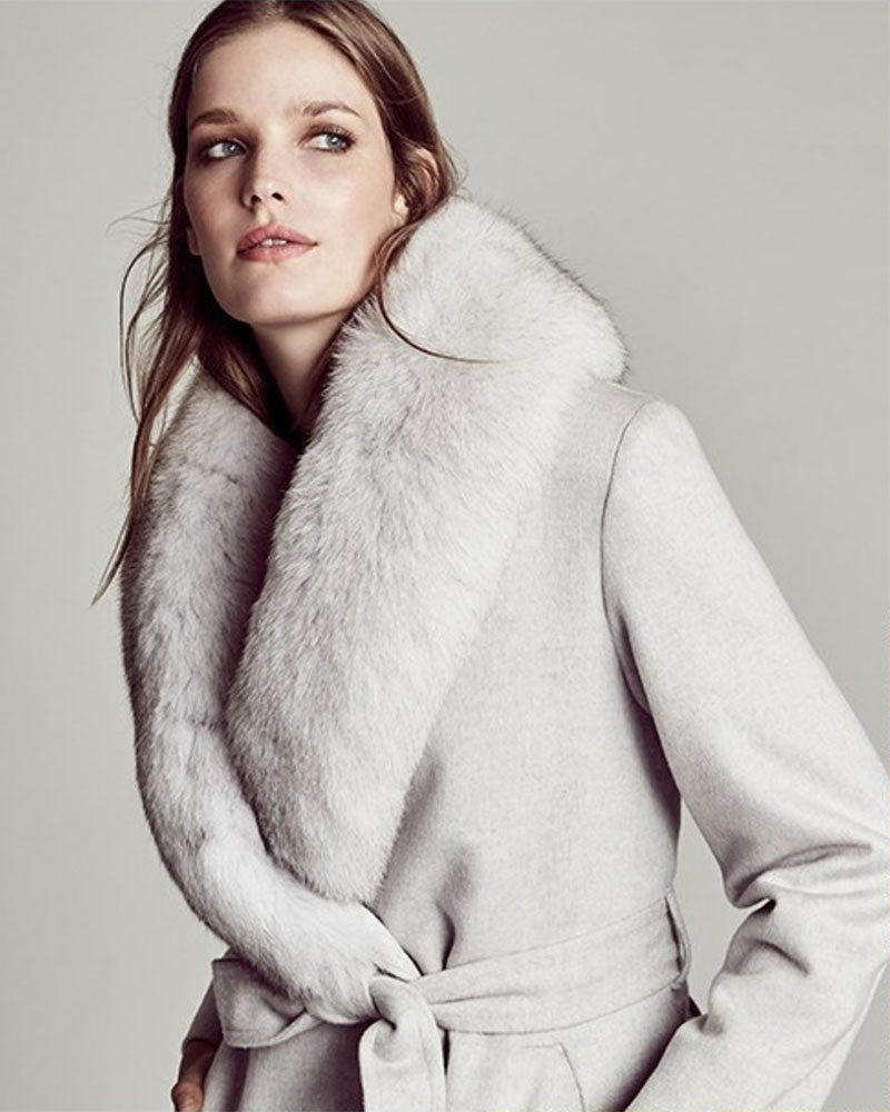 Sofia Cashmere Fox Fur-Trimmed Wool & Cashmere Wrap Coat