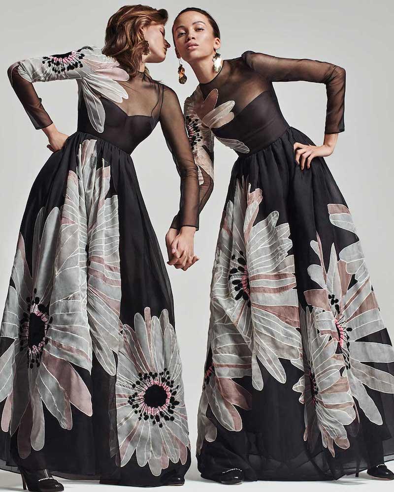Valentino Flower-Applique Organza Gown