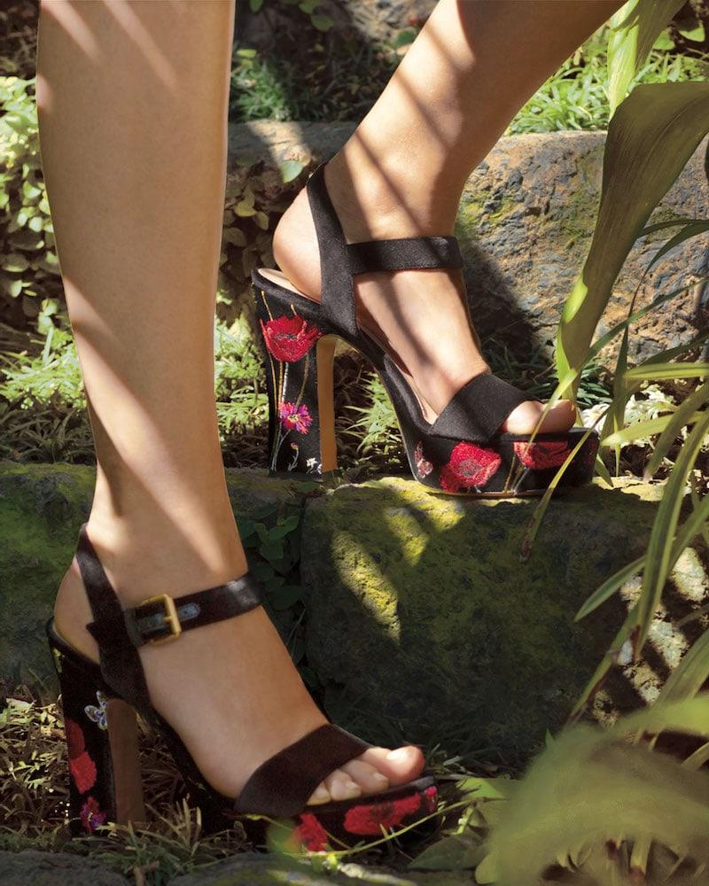 Valentino Garavani Poppy Velvet Embroidered Sandals