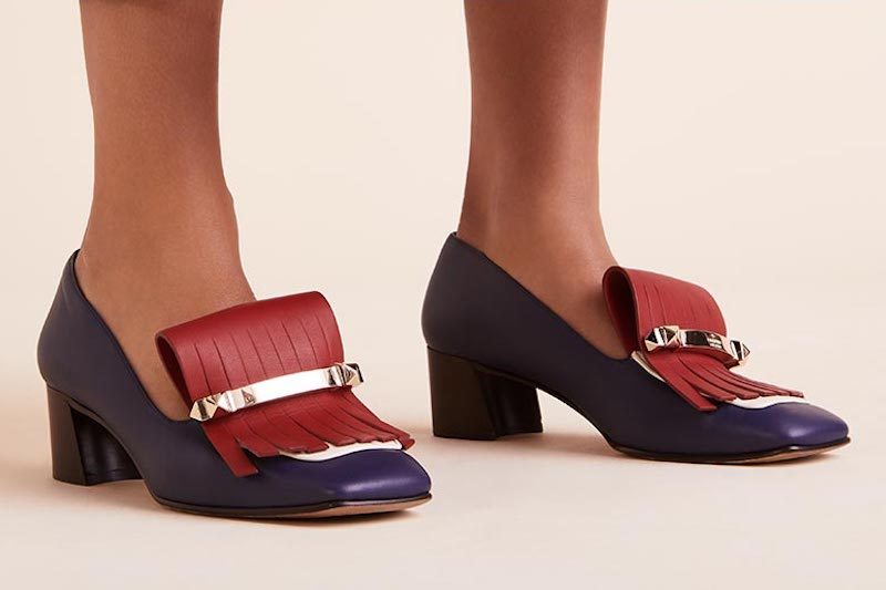 Valentino Garavani Uptown Colorblock Kitten-Heel Kiltie Loafers